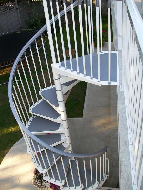 Eureka spiral staircase metal steel and wood spiral for Spiral staircase house
