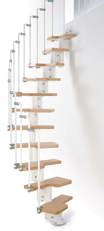 Karina Modular Staircase Kit Metal Steel And Wood Spiral Fontanot