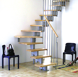 Genius Modular Stairs Metal Steel And Wood Spiral