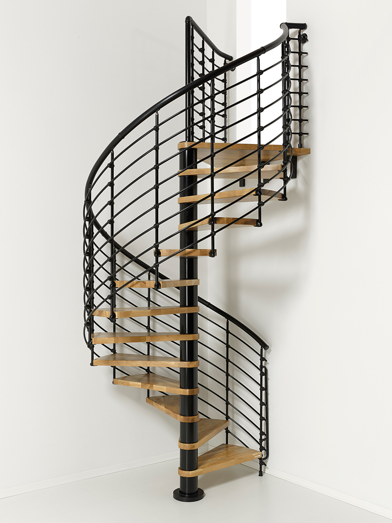 Oak70 xtra metal steel and wood spiral staircase fontanot for Spiral staircase plan