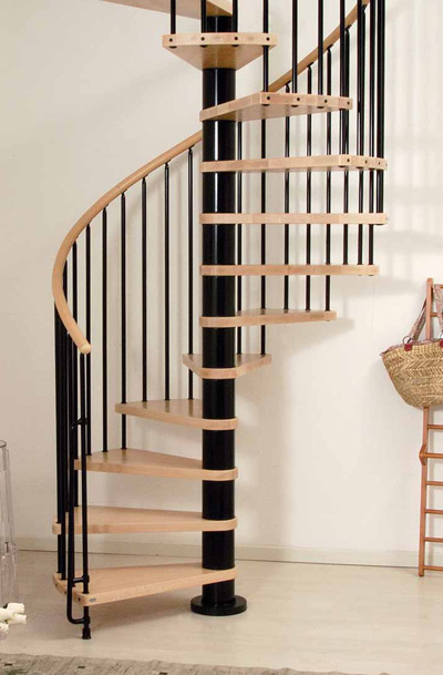 Phoenix wood tread spiral staircase kit metal steel and wood spiral stairc - Escalier colimacon metal ...