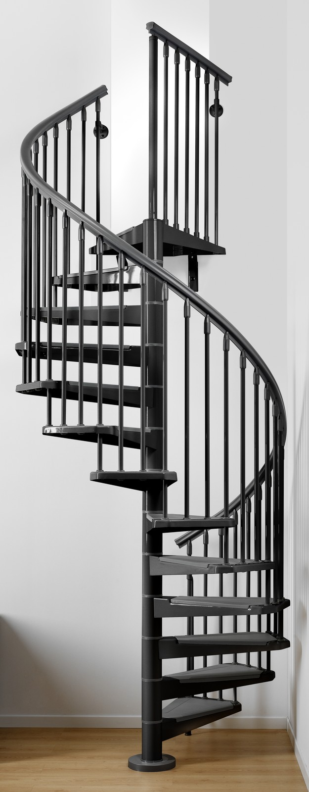 Eureka spiral staircase metal steel and wood spiral for Square spiral staircase plans hall