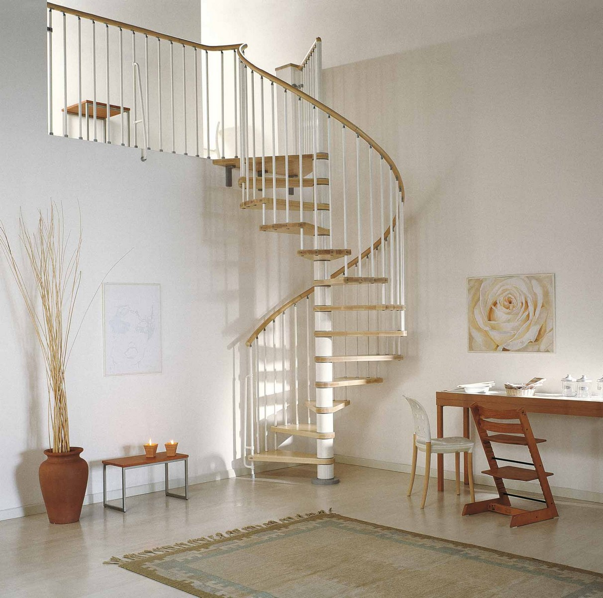 Phoenix wood tread spiral staircase kit metal steel and for Spiral staircase plan