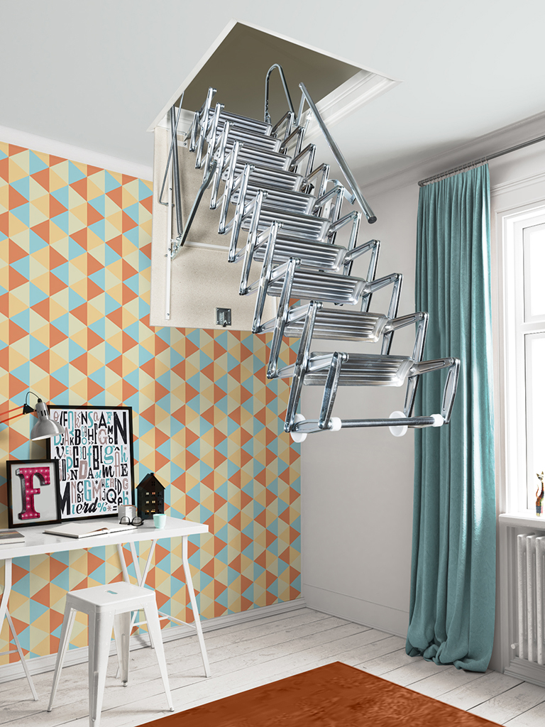 Zooom Plus Electric Scissor Loft Ladder Metal Steel And